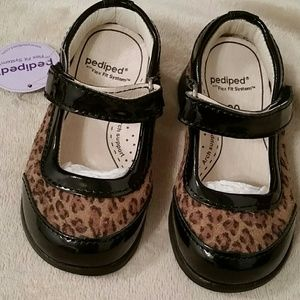 Pediped Leopard Print and patent Mary Jane shoes